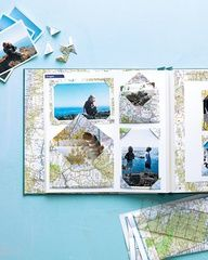 Map Scrapbooks    Relive your favorite travel memories by creating keepsakes from your family vacation photos, souvenirs, postcards, and other memorabilia.    Give the maps that guided you to favorite destinations a second life in a scrapbook. The printed papers become colorful and fitting backdrops for vacation mementos (and using them is easier than folding the map itself