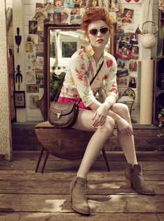 rebecca miller for nica. ginger hair, vintage accents, my favorite boot shape for fall.