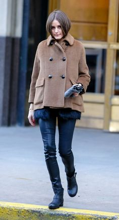 Olivia Palermo Heads Out in a Peacoat in Brooklyn