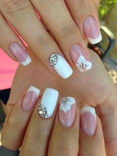 5 Unavoidable Floral Nail Art for Short Nails : Take a look! Your short nail deserves some amazing nail art design and Color. So, regarding that, we have gathered some lovely Floral Nail Art for Short Nail suggestions only for you. Bridal Nails Designs, Fall Nail Art Designs, Wedding Guest Nail Designs, Pink Nails, My Nails, Fall Nails, Glitter Nails, Stiletto Nails, Summer Nails