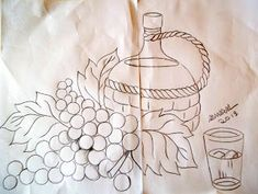 Fruit Painting, Fabric Painting, Embroidery Patterns, Hand Embroidery, Glass Engraving, Sketches, Drawings, Needlework, Cross Stitch