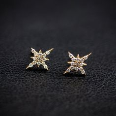 14k gold diamond cluster earrings rose gold white by EnveroJewelry