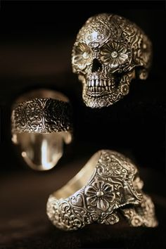 Crazy detail for a ring! Sterling sugar skull ring by Ink Metal Designs - created by T. Wittelsbach, a former Hollywood sculptor - is a more extreme look inspired by folklore. Skull Jewelry, Jewelry Box, Jewelry Accessories, Fashion Accessories, Skull Rings, Jewlery, Fine Jewelry, Hippie Jewelry, Cheap Jewelry