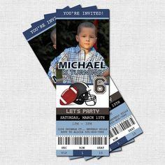 Personalized Birthday Party FOOTBALL TICKET Invitations