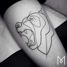 awesome Geometric Tattoo - One Line Tattoos – Les tatouages minimalistes de Mo Ganji (image). One Line Tattoo, Single Line Tattoo, Silhouette Tattoos, Silhouette Design, Grizzly Bear Tattoos, Continuous Line Tattoo, Simple Tattoos For Guys, Tattoo Outline, Different Tattoos