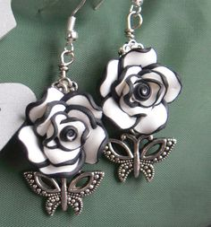 Black and white polymer clay flowers with by MarquisCreations, $12.99