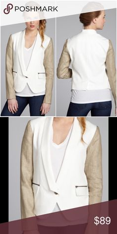 "Nell Couture $215* Tencel Colorblock Blazer New With Tags Nell Couture White Khaki Tencel Colorblock One-Button Blazer Jacket Size: 8 Retail: $215.00  Total Jacket Length: 25"" Sleeve Length: 24 1/2"" Bust Across: 20"" 100% TENCEL, Lining: 100% Polyester Nell Couture Jackets & Coats Blazers"