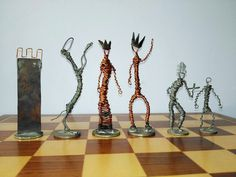 Silver and Copper Wire Chess Set
