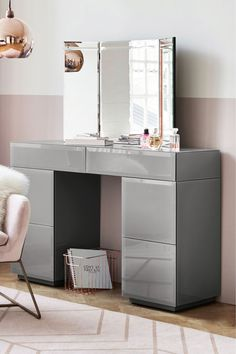 You'll love getting ready every morning at the grey Sloane dressing table. A perfect add-on to enhance your dressing up time! Dressing Table Storage, Dressing Table Vanity, Dressing Room, Grey Dressing Tables, Cute Bedroom Decor, Bedroom Ideas, Bedroom Inspo, Bedroom Inspiration, Interior Inspiration