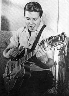 "Eddie Cochran (1938–1960) a rock pioneer who, in his brief career, had a small but lasting influence on rock music through his guitar playing. Cochran's rockabilly songs, such as ""C'mon Everybody"", ""Somethin' Else"", and ""Summertime Blues"", captured teenage frustration and desire in the late 1950s and early 1960s. His image as a sharply dressed, rugged but good-looking young man with a rebellious attitude epitomized the stance of the Fifties rocker, and in death he achieved an iconic status."