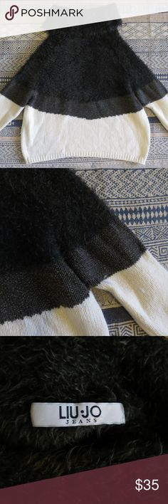 LIU JO Sweater Beautiful dark green/white fuzzy sweater, Size S, Very good condition Liu Jo Sweaters