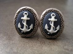 Antique Silver Anchor Cameo Cuff Links by MetalsAndTime on Etsy, $26.50