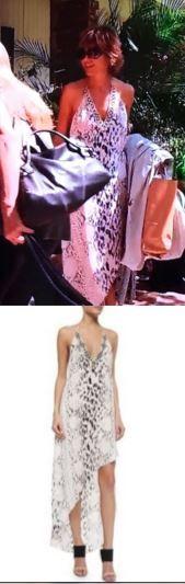 Lisa Rinna's White Python Asymmetrical Maxi Dress http://www.bigblondehair.com/real-housewives/rhobh/lisa-rinnas-white-halter-animal-print-maxi-dress/ Real Housewives of Beverly Hills Fashion Season 6 feat Haute Hippie