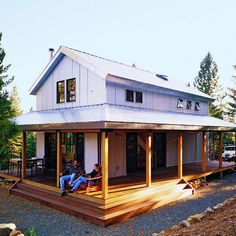 This 8-foot, wraparound porch provides a spot to lounge in the summer, and protects against snow in the winter.