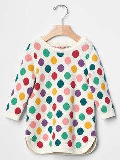 Multi-dot sweater dress