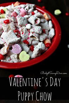 Perfect treat for kids to make for Valentine's Day Valentine's Day Puppy Chow Recipe #valentinesday #recipes #puppychow #budgetsavvydiva - budgetsavvydiva.com