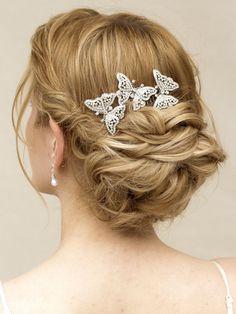"Rhinestone Butterfly Bridal Hair Comb ~ ""Flutter""- Bridal Hair Accessories, Wedding Headpieces, Bridal, Wedding, Hair Accessories, Headpieces, Combs, Clips, Hair Pins, Flowers, Headbands, Tiaras, Jewelry, Vintage, Beach - Hair Comes th"