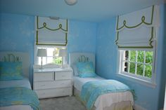 monogrammed headboards - happy blue - citrus green - window treatments (Sunny Goode. Monogramming available at: http://www.atlanticembroideryworks.com/)