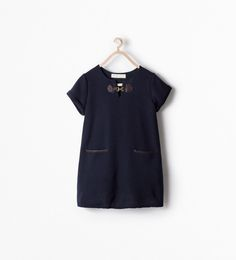 DRESS WITH BUCKLE AND FAUX LEATHER PIPING from Zara
