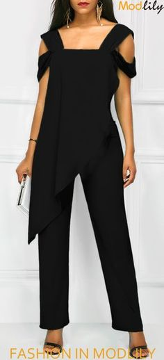 8edcb29e986 Open Back Overlay Wide Strap Black Jumpsuit On Sale. Fashion and simple  jumpsuits at Modlily