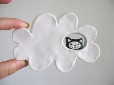 Ceramic Wall Hanging - Kitty Cloud - Cat in the Clouds on Etsy store PearsonMaron  Handmade Curiosities