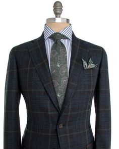 Isaia Charcoal and Teal with Green Windowpane Sportcoat