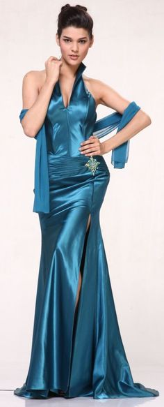 Teal Collar Halter Dress Satin Formal Open Slit Sexy Full Length Gown $117.99