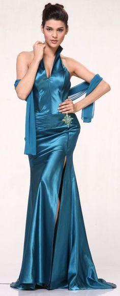 Teal Collar Halter Dress Satin Formal Open Slit Sexy Full Length Gown $117.99