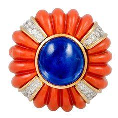 1stdibs | DAVID WEBB Domed Diamond Coral Cabochon Sapphire Ring