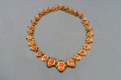 Carved Coral Gold Link Necklace, circa 1870 at 1stdibs