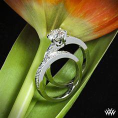 tiffany style bead set engagement ring and matching band