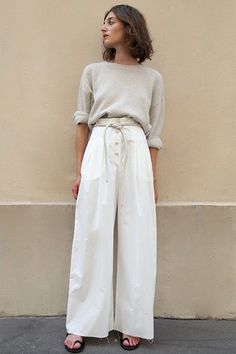 Dunn Palazzo Pants in White Creme by Nanushka – The Frankie Shop Linen Pants Outfit, White Pants Outfit, Trouser Outfits, Summer Pants Outfits, Work Outfits, White Palazzo Pants, Cotton Palazzo Pants, High Waisted Palazzo Pants, Wide Trousers