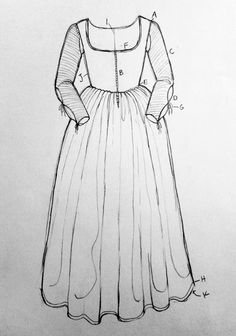 Preliminary sketch for a late 15th c. Italian gamurra: (A) Fitted sleeves sewn at top of shoulder; open armpit, revealing chemise (B) Front lacing (C) Contrasting sleeve fabric (D) Slashed forearm, revealing chemise (E) Full skirt, attached to bodice with cartridge pleats; box pleats at back (F) Rounded square neckline with thin trim decoration; echoed higher in back (G) Ribbon ties (H) Trimmed floor-length hem; longer in back (I) Center back seam (J) Side seams (K) Contrast skirt lining