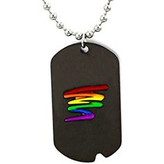 TTKP Black Gay Pride Dog Tag Rainbow Squiggle Lgbt Gay And Lesbian Pride Necklace Qe88-1
