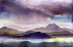 watercolor // note technique on making rain off in the distance by bleeding… #LandscapeWatercolor