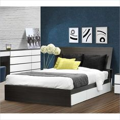 "Nexera Allure 54"" Reversible Full Storage Bed in White Lacquer & Ebony - Find it at Cymax!"