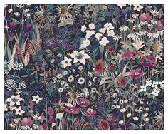 Shand Voyage print Floral Patterns, Fabric Patterns, Print Patterns, Vintage Floral Wallpapers, Color Feel, Night Garden, Liberty Print, Pattern Ideas, Dark Backgrounds