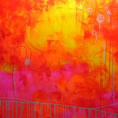 Elena pink orange abstract painting large painting by DwellStudio, $389.00
