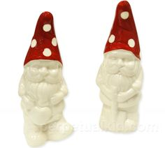 $10, GARDEN GNOME S SHAKERS  Garden kitsch arrives indoors with our Garden Gnome Salt & Pepper Shakers!  These happy gnomes make loyal keepers of your salt and pepper and will serve you wisely.  Show your guests that it's not just your lawn that adorns some awesome gnomes, but also your tabletop!