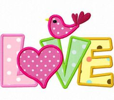 Valentine love bird applique machine embroidery by FunStitch, $4.00
