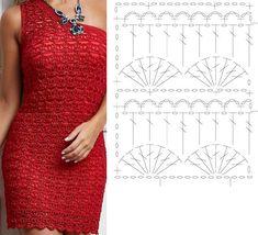 Photo from album Crochet Symbols, Crochet Chart, Crochet Stitches, Crochet Blouse, Crochet Lace, Knit Patterns, Dress Patterns, Crochet Bedspread Pattern, Crochet Woman
