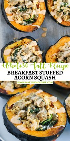 This Breakfast Stuffed Acorn Squash with Garlic Aioli is a fun and unique way to enjoy breakfast! Acorn squash are roasted and stuffed with a mixture of chicken sausages, eggs, spinach, and topped with a delicious garlic aioli. This recipe is Whole30, paleo, gluten free, and dairy free! The perfect healthy fall recipe to make with your garden fresh vegetables while enjoying some comfort food with the cool weather. Whole 30 Breakfast, Clean Eating Breakfast, Dairy Free, Gluten Free, Acorn Squash Recipes, Sweet Potato Kale, Raw Spinach, Garlic Aioli, Sausage And Egg