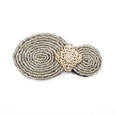 """Vintage glamour is a beautiful trend - and made easy with the Claire hair clip.   - Metallic thread and leather   - 2 1/2"""" wide, 1"""" tall (CLAIR CLIP) www.michell.kitsylane.com $18.00"""