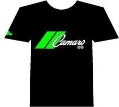 Chevy Camaro Muscle car Auto T-shirt Black 100% Cotton Green Logo  #Gildan #GraphicTee