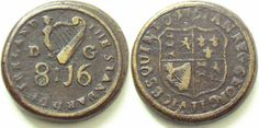 """1751 Irish George II Double Pistole Brass Coin Weight, listed as """"R - RARE"""", good collectable condition, see photograph.  Withers No: 2729. Diameter 23mm. F+"""