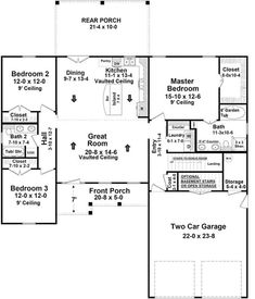 The remarkable home's 1-story floor plan has 2066 square feet of fully conditioned living space and includes 3 bedrooms. #houseplan #floorplan Country Style House Plans, Craftsman Style House Plans, Country House Design, New House Plans, Small House Plans, Porch Storage, Stone Siding, Wood Siding, Vinyl Siding