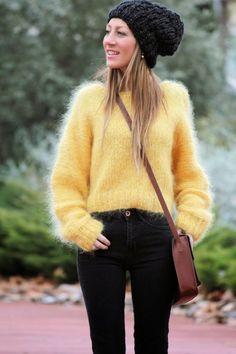 Yellow mohair sweater – Warm yellow hand knit sweater Mohair wool knit sweater Mohair sweater – Natural yarn sweater – The Best Ideas Knitwear Fashion, Knit Fashion, Sweater Fashion, Fluffy Sweater, Angora Sweater, Hand Knitted Sweaters, Wool Sweaters, Knitting Sweaters, Handgestrickte Pullover