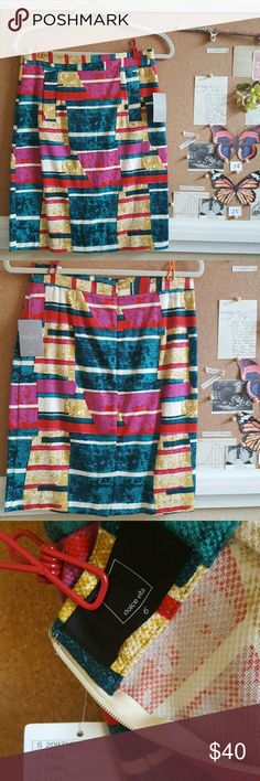 "Anthropologie Dolce Vita Skirt - Size 6 NWT Dolce Vita brand geometric abstract pattern pencil skirt purchased from Anthropologie. In brand new condition with all tags. Zippper in the back. Original owner. All my clothing comes from a clean and smoke-free home. I'm 5'2"" for reference and it hits me just passed the knee. Flat measures: 15"" waist, 18"" hips, 22"" length. Anthropologie Skirts Pencil"