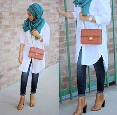 7755d4e038e3 Hijab summer outfit white shirt and jeans Hijab Fashion Summer