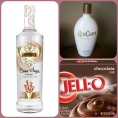 CHOCOLATE CHURRO Pudding Shots  • 1 Sm. pkg Choc. Instant Pudding • 3/4C Milk • 1/4C RumChata • 1/2C Smirnoff Cinn. Sugar Twist Vodka • 1(8oz) tub of Cool Whip  ~Whisk milk, liqueur & pudding in a bowl. ~Add in Cool Whip, slowly. ~Spoon into glasses, shot cups, etc...